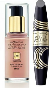 Balíček řasenka Velvet Volume  + make up Face Finity 3v1 Max Factor