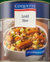 Polévka čočková s uzeným vepřovým masem Coquette