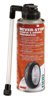 Sprej na opravu pneu Never Stop Lampa