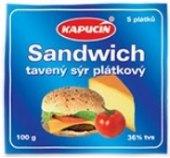 Tavený sýr plátky Sandwich Kapucín