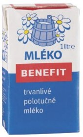 Trvanlivé mléko Benefit - 1,5% polotučné