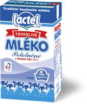 Trvanlivé mléko Lactel Kunín - 1,5% polotučné