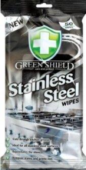 Úklidové vlhčené ubrousky na povrchy z nerezové oceli Green Shield