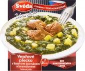 Vepřové plecko s listovým špenátem a bramborem Švéda