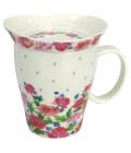 Hrnek z kostního porcelánu s pokličkou Silly Design English Roses, 330ml