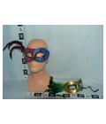 Maska na oči s pírkem - modro–bordó